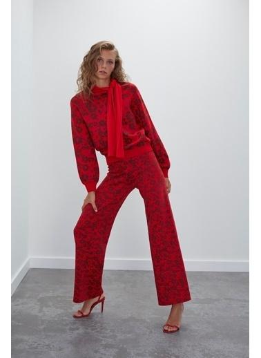 Join Us Çiçek Desenli Beli Lastikli Triko Pantolon Renkli
